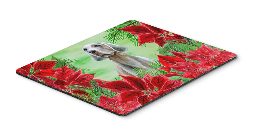 Buy this Weimaraner Poinsettas Mouse Pad, Hot Pad or Trivet CK1322MP