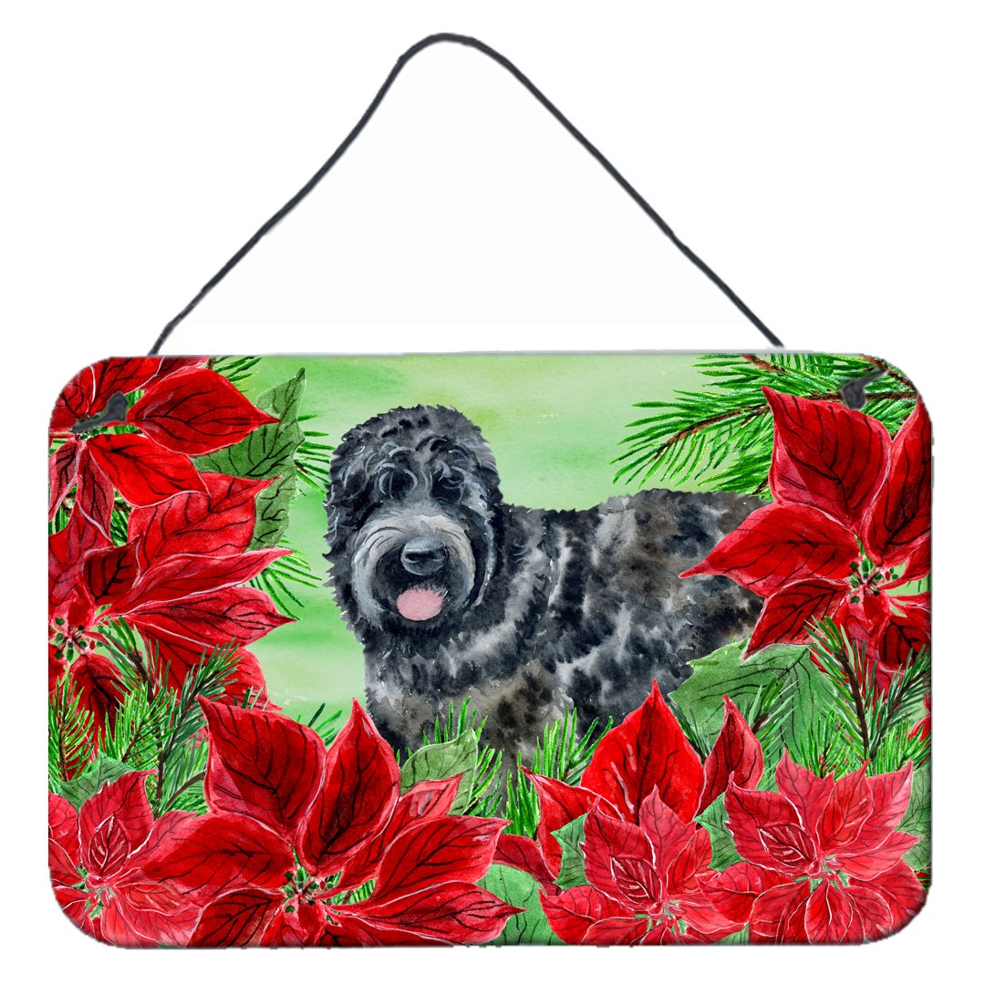 Buy this Black Russian Terrier Poinsettas Wall or Door Hanging Prints CK1325DS812