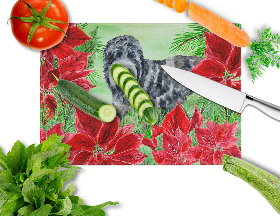 Buy this Black Russian Terrier Poinsettas Glass Cutting Board Large CK1325LCB