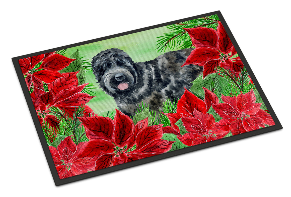 Buy this Black Russian Terrier Poinsettas Indoor or Outdoor Mat 18x27 CK1325MAT