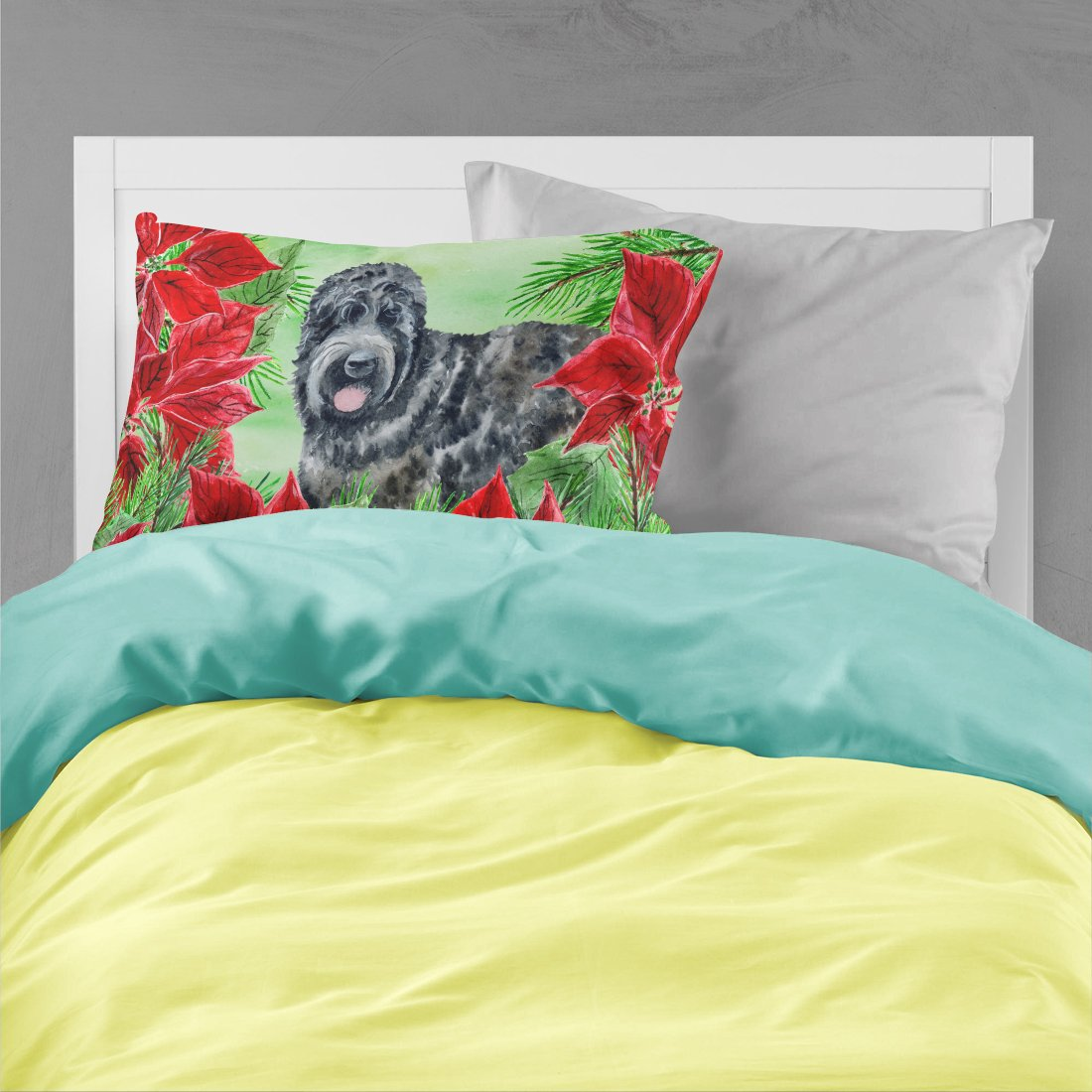 Black Russian Terrier Poinsettas Fabric Standard Pillowcase CK1325PILLOWCASE by Caroline's Treasures