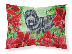 Buy this Black Russian Terrier Poinsettas Fabric Standard Pillowcase CK1325PILLOWCASE