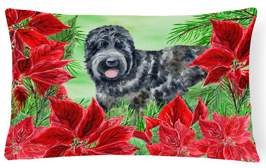 Buy this Black Russian Terrier Poinsettas Canvas Fabric Decorative Pillow CK1325PW1216