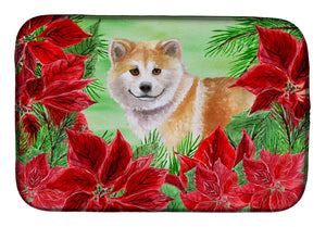 Buy this Shiba Inu Poinsettas Dish Drying Mat CK1326DDM