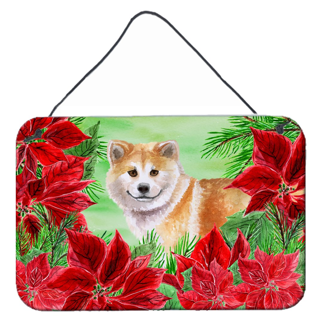 Shiba Inu Poinsettas Wall or Door Hanging Prints CK1326DS812 by Caroline's Treasures