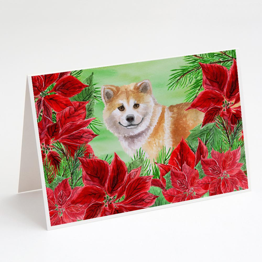 Buy this Shiba Inu Poinsettas Greeting Cards and Envelopes Pack of 8