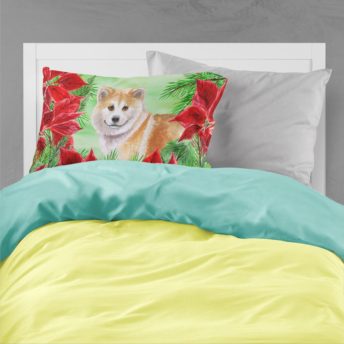 Shiba Inu Poinsettas Fabric Standard Pillowcase CK1326PILLOWCASE by Caroline's Treasures