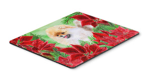 Buy this Pomeranian Poinsettas Mouse Pad, Hot Pad or Trivet CK1330MP