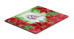 Buy this Medium White Poodle Poinsettas Mouse Pad, Hot Pad or Trivet CK1331MP