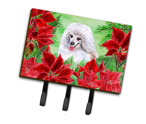 Buy this Medium White Poodle Poinsettas Leash or Key Holder CK1331TH68