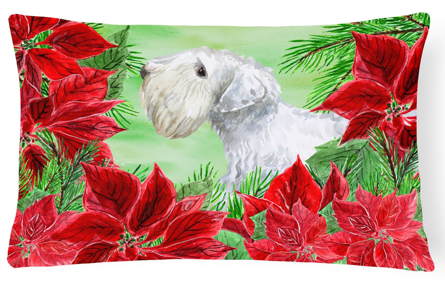 Buy this Sealyham Terrier Poinsettas Canvas Fabric Decorative Pillow CK1332PW1216