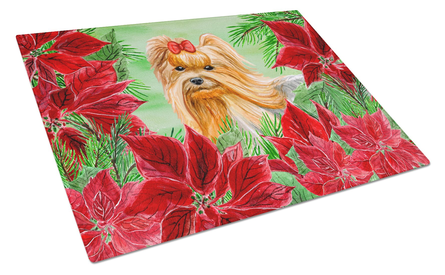 Yorkshire Terrier Poinsettas Glass Cutting Board Large CK1333LCB by Caroline's Treasures