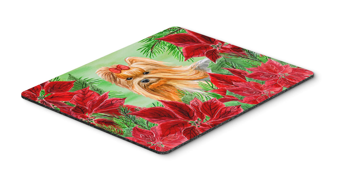 Buy this Yorkshire Terrier Poinsettas Mouse Pad, Hot Pad or Trivet CK1333MP