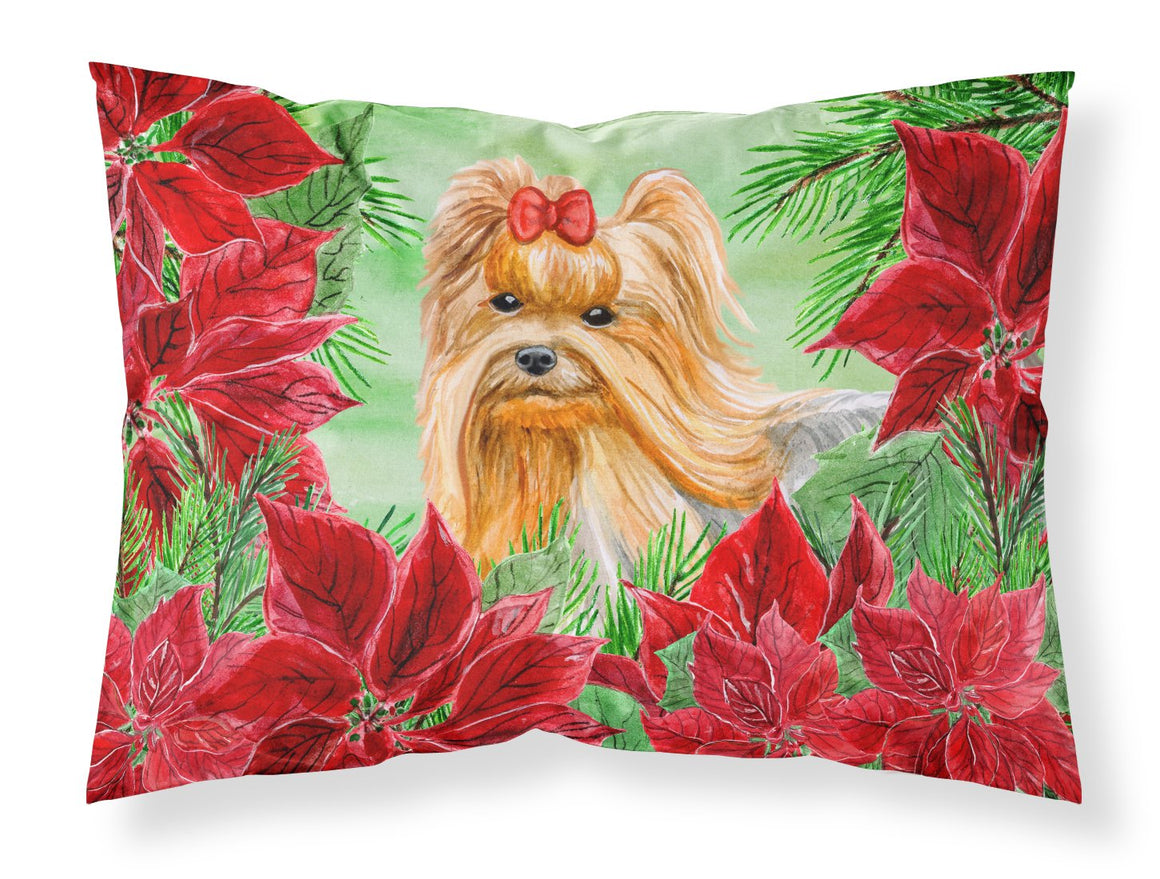 Buy this Yorkshire Terrier Poinsettas Fabric Standard Pillowcase CK1333PILLOWCASE