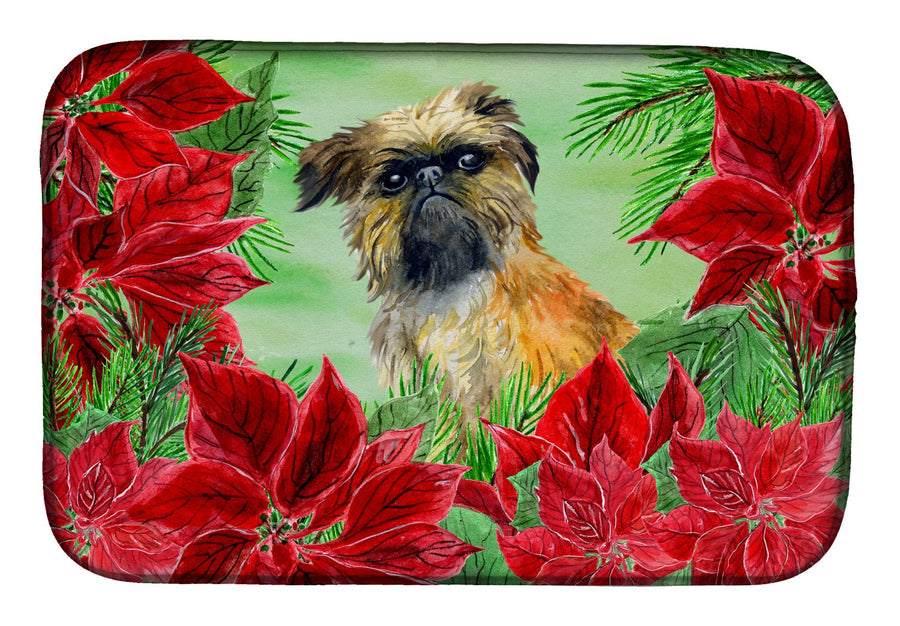 Buy this Brussels Griffon Poinsettas Dish Drying Mat CK1335DDM