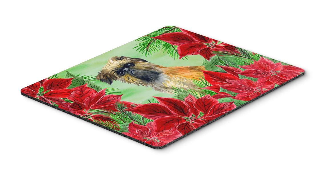 Buy this Brussels Griffon Poinsettas Mouse Pad, Hot Pad or Trivet CK1335MP