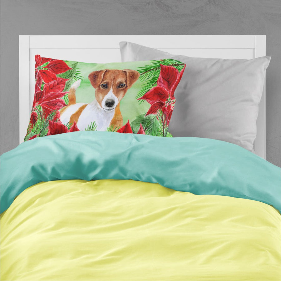 Buy this Jack Russell Terrier Poinsettas Fabric Standard Pillowcase CK1337PILLOWCASE