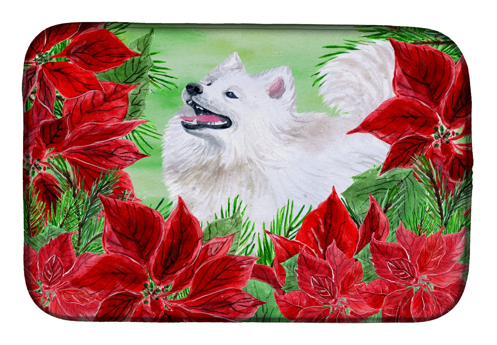 Buy this Samoyed Poinsettas Dish Drying Mat CK1339DDM