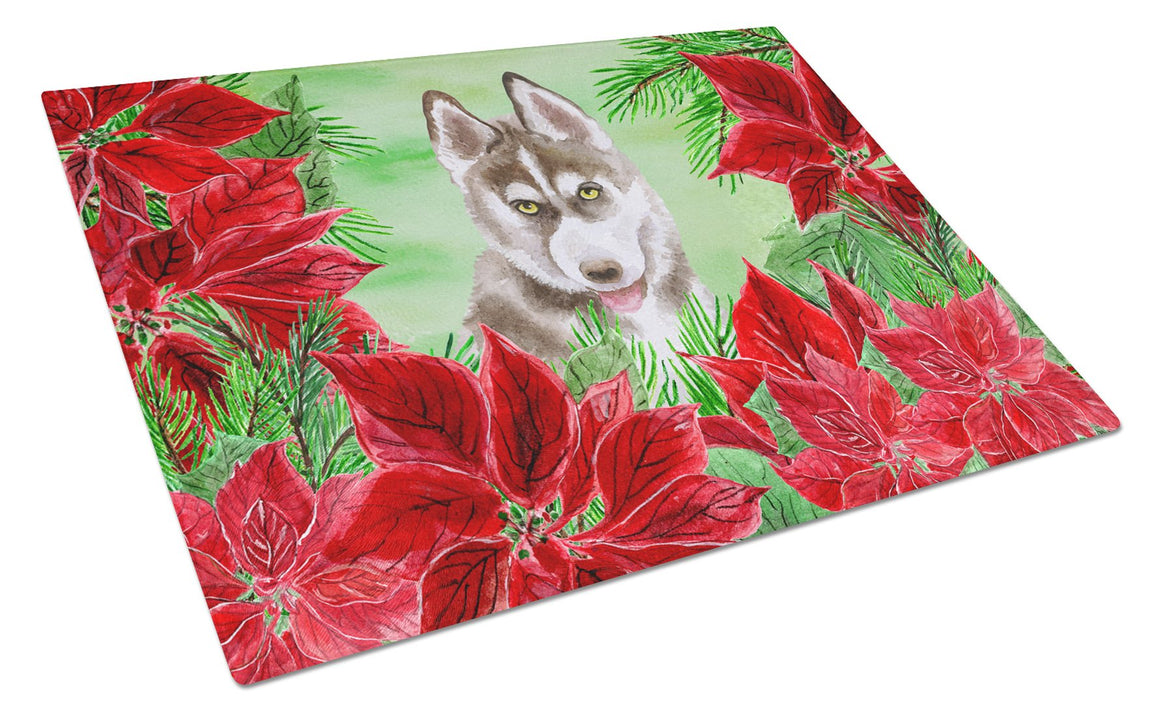 Buy this Siberian Husky Grey Poinsettas Glass Cutting Board Large CK1344LCB