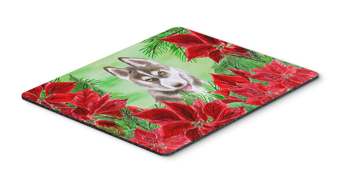 Buy this Siberian Husky Grey Poinsettas Mouse Pad, Hot Pad or Trivet CK1344MP