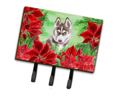 Buy this Siberian Husky Grey Poinsettas Leash or Key Holder CK1344TH68