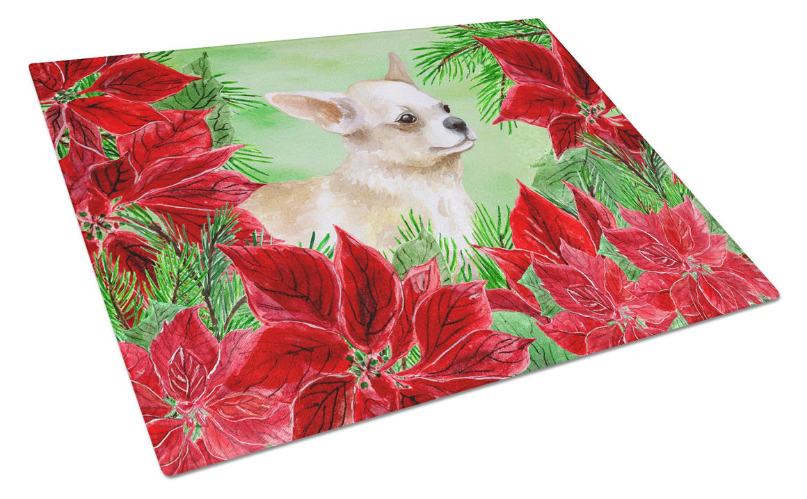 Buy this Chihuahua Leg up Poinsettas Glass Cutting Board Large CK1345LCB