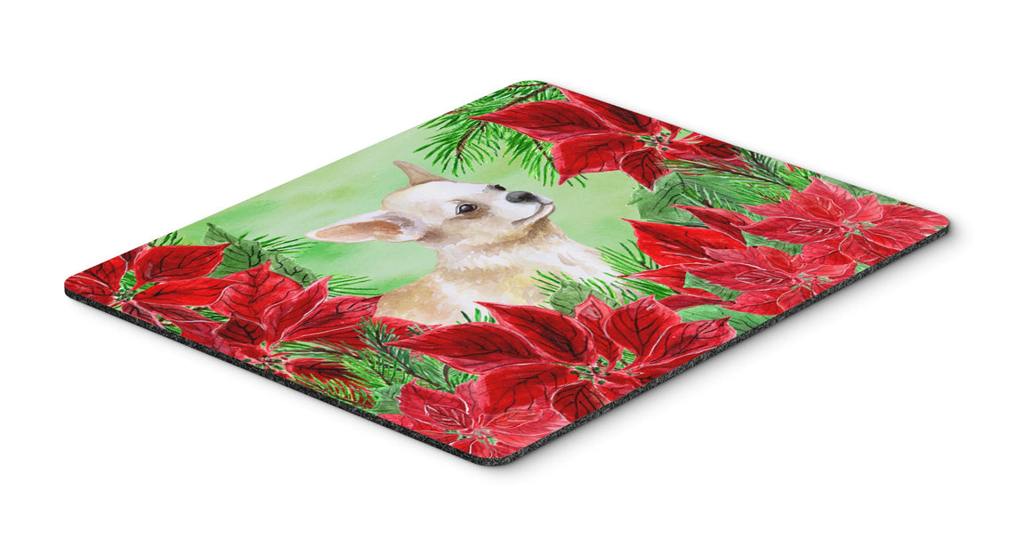 Buy this Chihuahua Leg up Poinsettas Mouse Pad, Hot Pad or Trivet CK1345MP