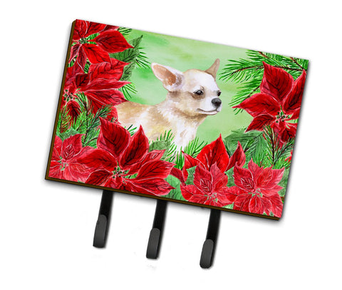 Buy this Chihuahua Leg up Poinsettas Leash or Key Holder CK1345TH68