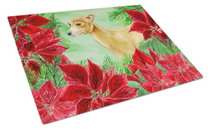 Buy this Italian Greyhound Poinsettas Glass Cutting Board Large CK1346LCB