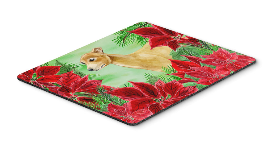 Buy this Italian Greyhound Poinsettas Mouse Pad, Hot Pad or Trivet CK1346MP