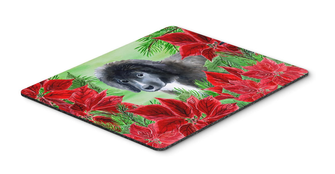 Buy this Newfoundland Puppy Poinsettas Mouse Pad, Hot Pad or Trivet CK1347MP
