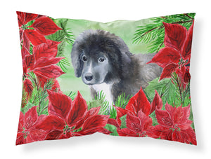 Buy this Newfoundland Puppy Poinsettas Fabric Standard Pillowcase CK1347PILLOWCASE
