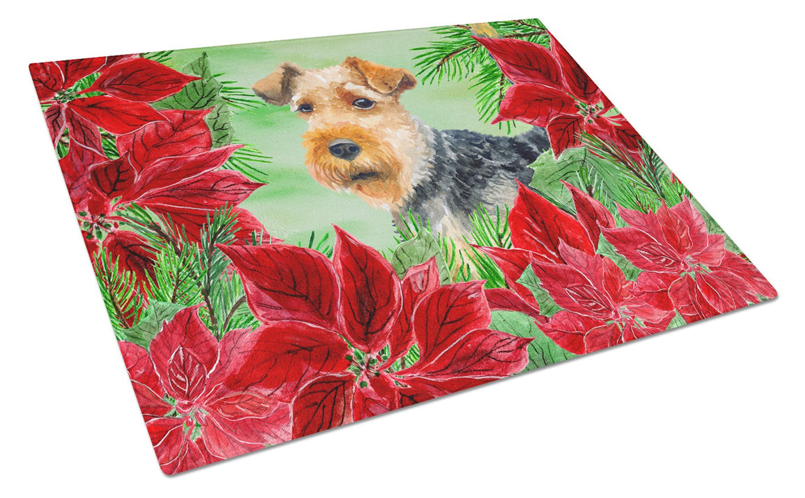 Buy this Welsh Terrier Poinsettas Glass Cutting Board Large CK1348LCB