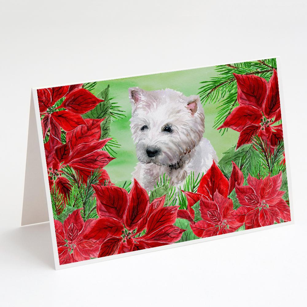 Buy this Westie Poinsettas Greeting Cards and Envelopes Pack of 8