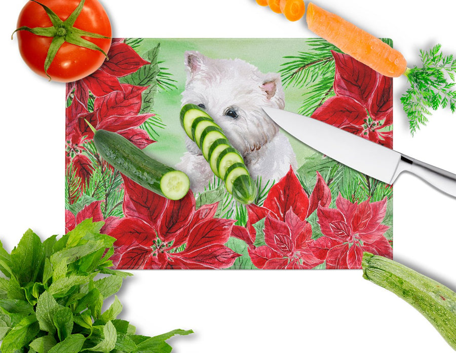 Buy this Westie Poinsettas Glass Cutting Board Large CK1349LCB