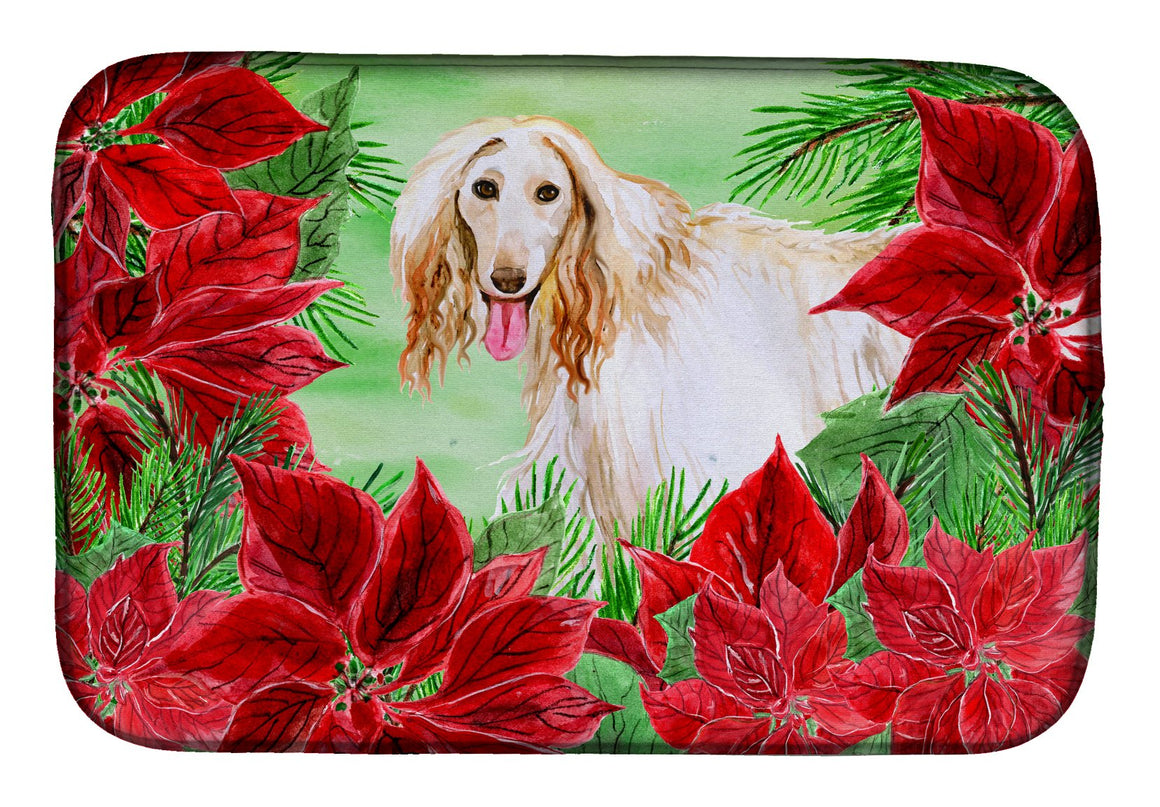 Buy this Afghan Hound Poinsettas Dish Drying Mat CK1350DDM