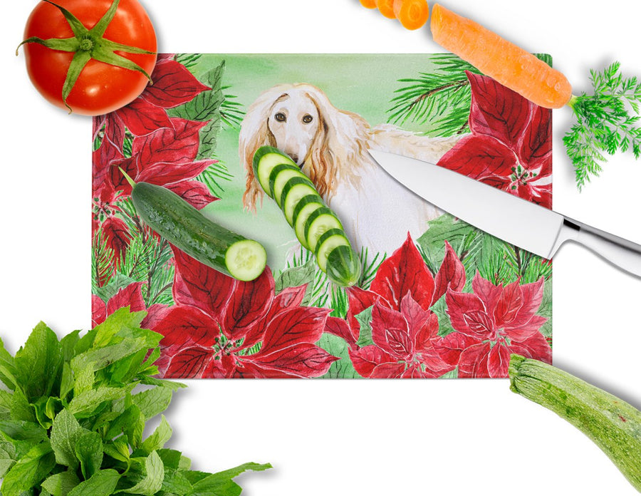 Buy this Afghan Hound Poinsettas Glass Cutting Board Large CK1350LCB