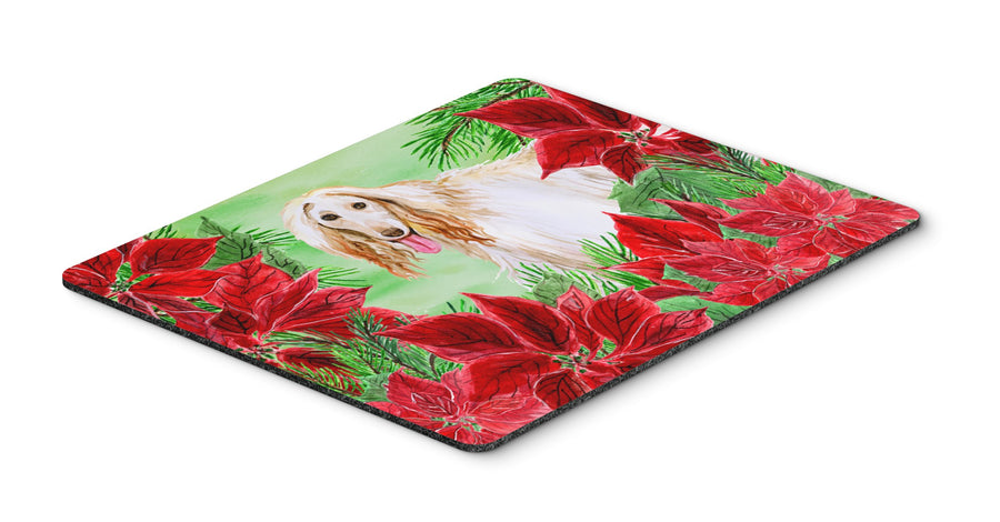 Buy this Afghan Hound Poinsettas Mouse Pad, Hot Pad or Trivet CK1350MP