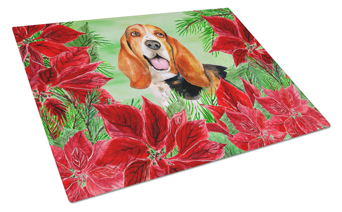 Buy this Basset Hound Poinsettas Glass Cutting Board Large CK1352LCB