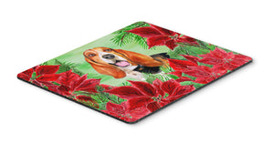 Buy this Basset Hound Poinsettas Mouse Pad, Hot Pad or Trivet CK1352MP