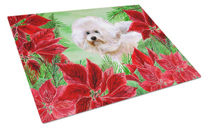 Buy this Bichon Frise #2 Poinsettas Glass Cutting Board Large CK1353LCB