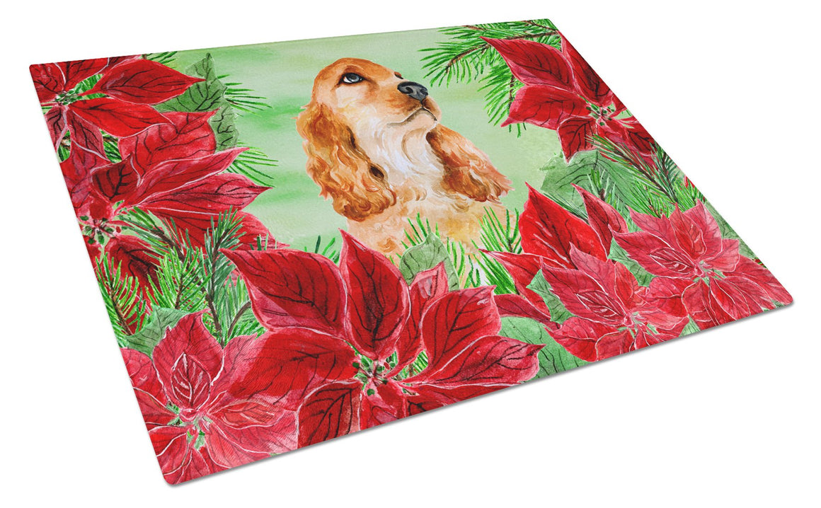 Buy this Cocker Spaniel Poinsettas Glass Cutting Board Large CK1354LCB