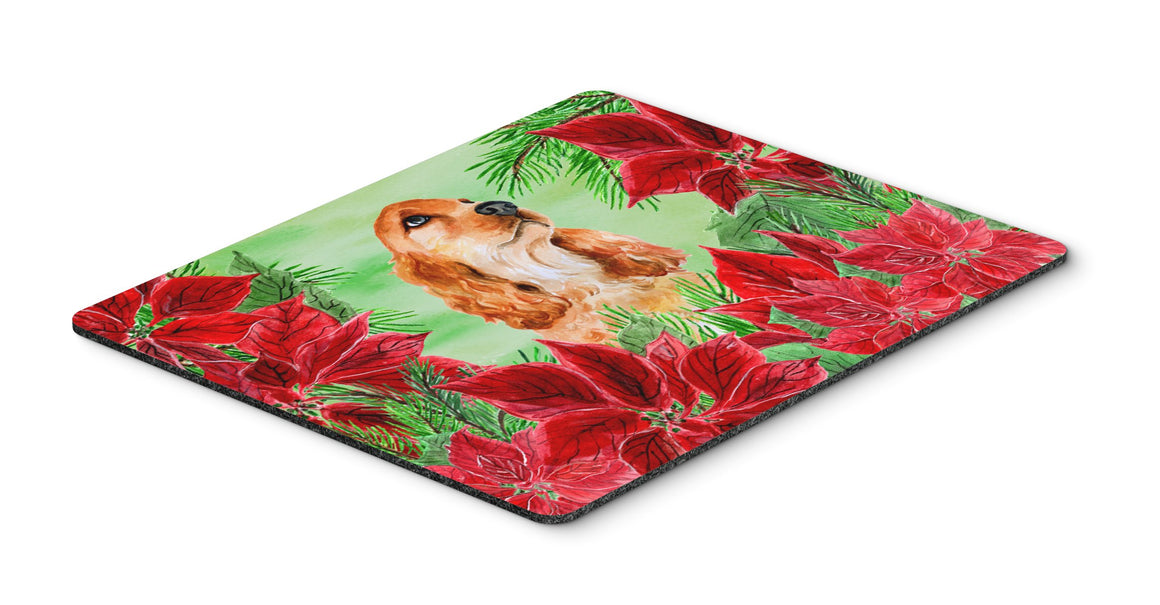 Buy this Cocker Spaniel Poinsettas Mouse Pad, Hot Pad or Trivet CK1354MP