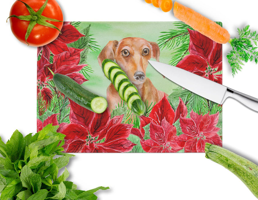 Buy this Red Dachshund Poinsettas Glass Cutting Board Large CK1355LCB