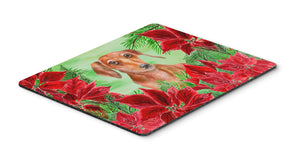 Buy this Red Dachshund Poinsettas Mouse Pad, Hot Pad or Trivet CK1355MP