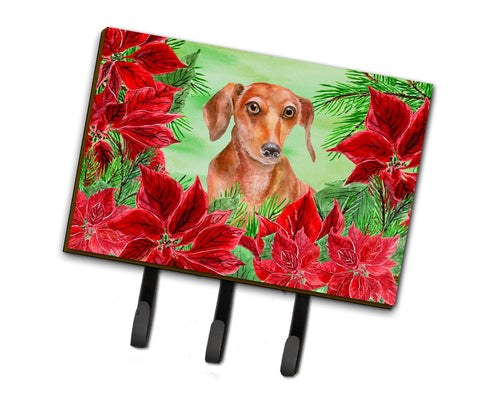 Buy this Red Dachshund Poinsettas Leash or Key Holder CK1355TH68