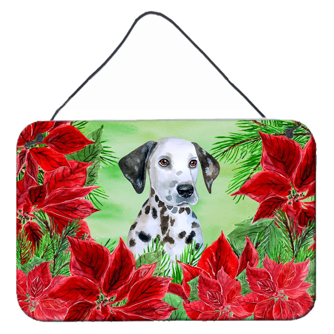 Dalmatian Puppy Poinsettas Wall or Door Hanging Prints CK1356DS812 by Caroline's Treasures