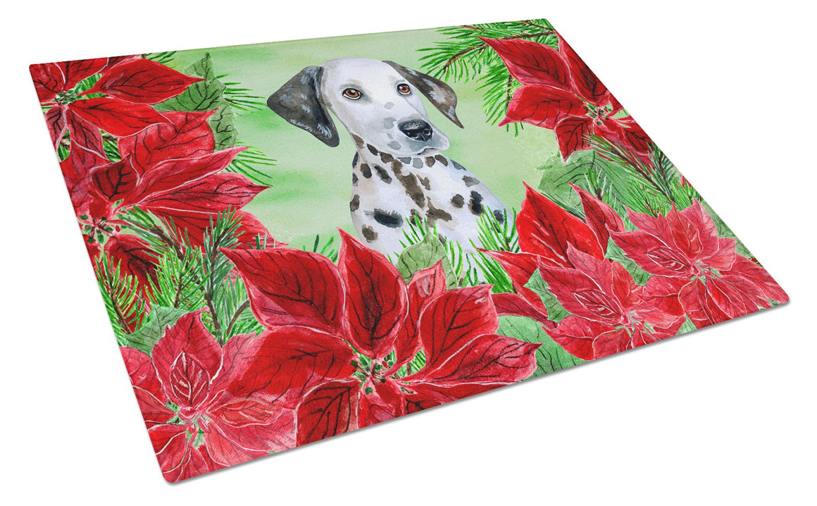 Buy this Dalmatian Puppy Poinsettas Glass Cutting Board Large CK1356LCB