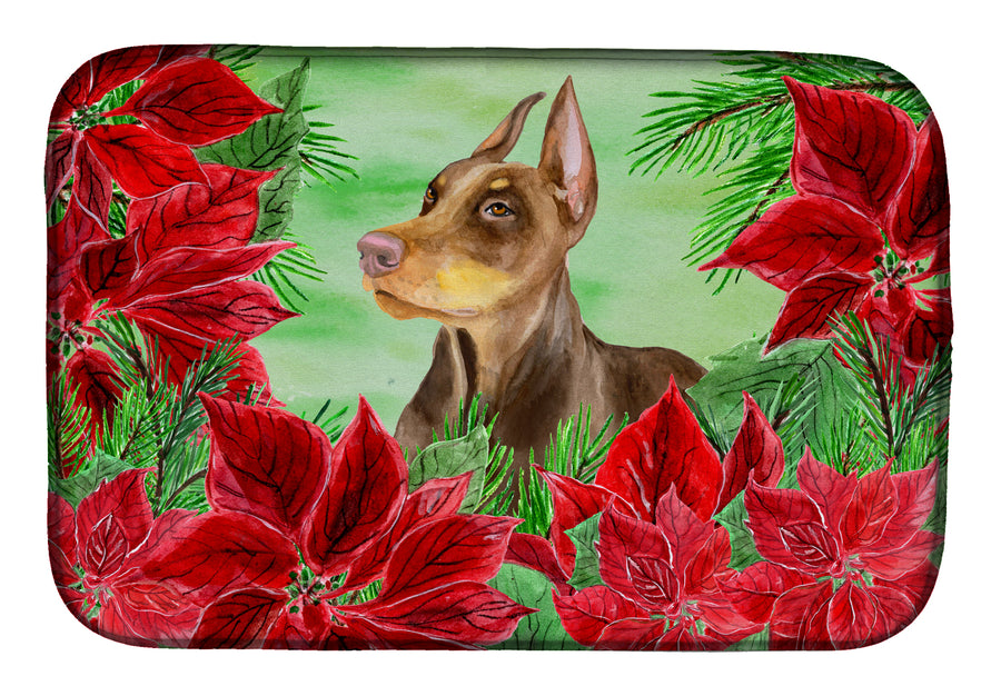 Buy this Doberman Pinscher Poinsettas Dish Drying Mat CK1357DDM