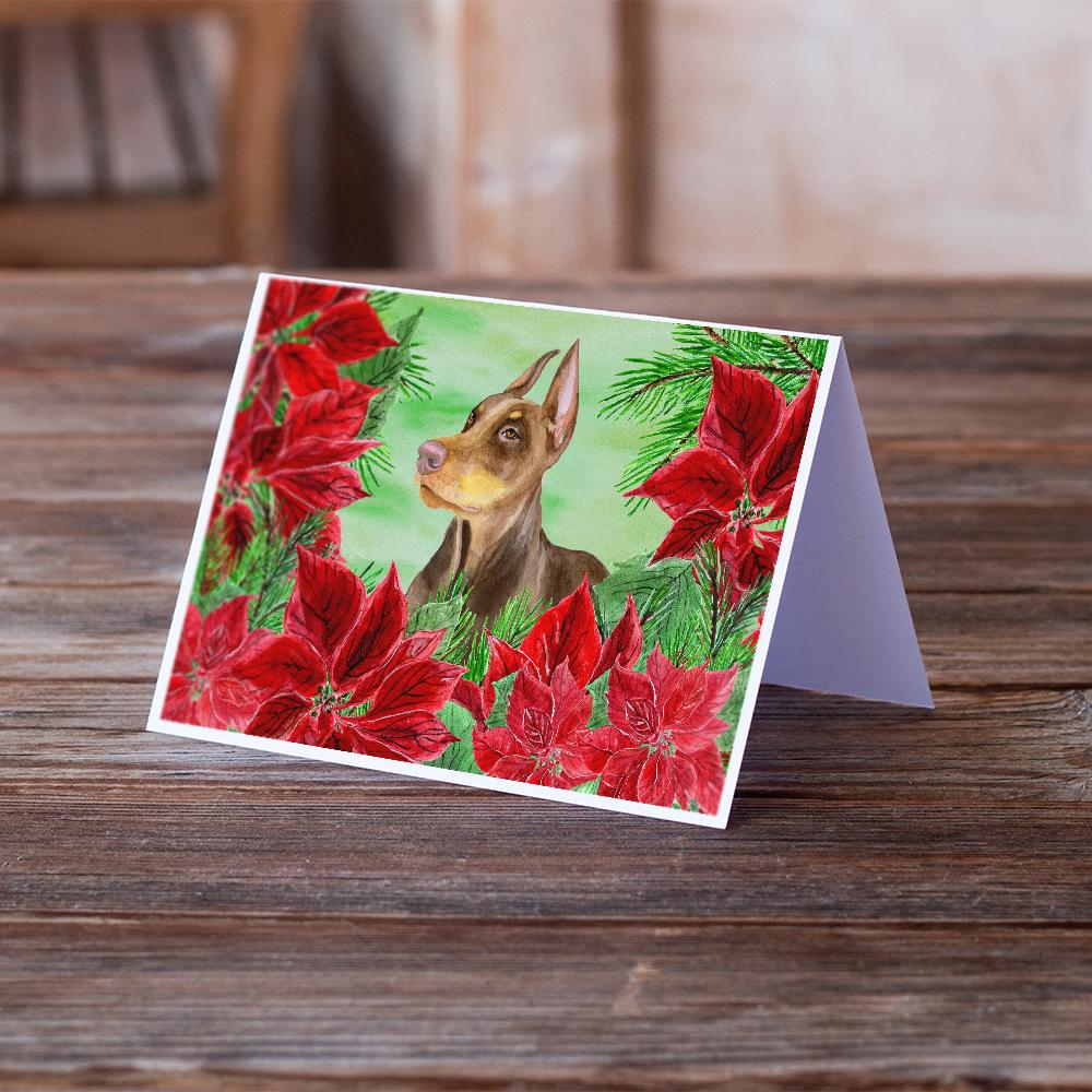 Buy this Doberman Pinscher Poinsettas Greeting Cards and Envelopes Pack of 8